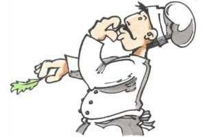 tegning af en kok der smager maden til