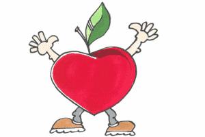 Et hjerteformet æble med arme og ben