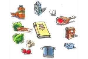 kogebog med ingredienser rundt om