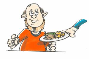 mand, der får serveret et dejligt måltid