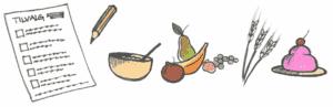 tilvalgliste med forskellige typer mad