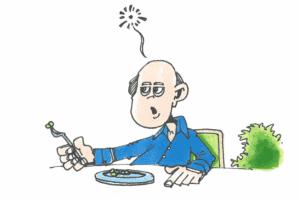 tegning af mand der ikke har så meget lyst til at spise