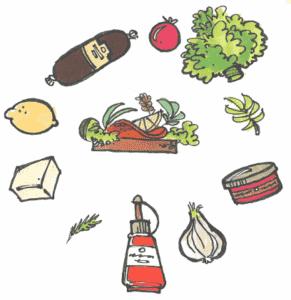 smørrebrød med forskellige ingredienser rundt om